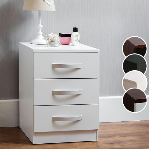 Hulio 3 Drawer Bedside Chest Gloss Bedroom Storage