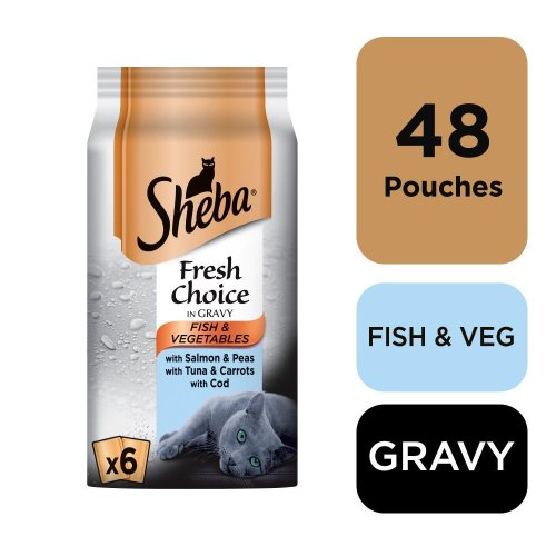Sheba Fresh Choice Cat Pouches Fish & Veg MSC Collection In Gravy 6x50g (Pack of 8)