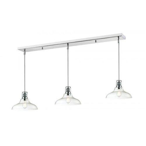Zlite 321-13MP-3CH Forge 3 Light Island & Billiard Light in Chrome with Clear Shade