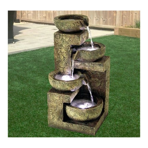 GEEZY 4-Tier LED Garden Water Feature | Garden Fountain With LED Lights