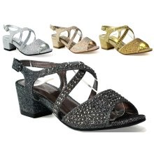 Infants Girls New Sparkly Cross Strap Party Sandal