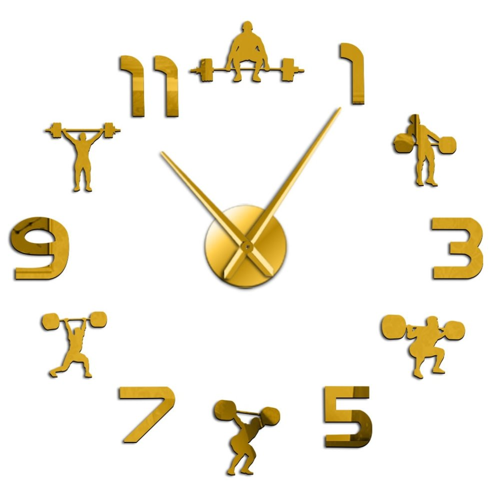Weightlifting Fitness Room Wall Decor Diy Giant Wall Clock On Onbuy