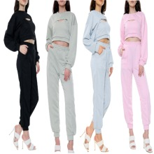 Latest Style Cut Out Top and Jogger 3 Piece Lounge