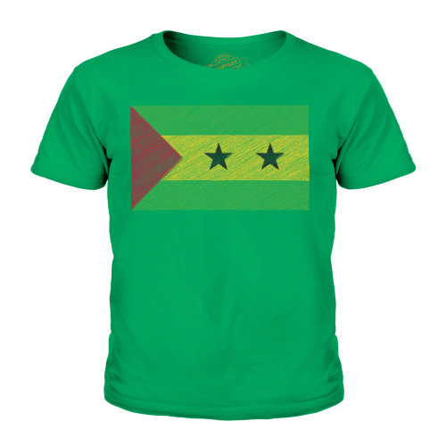 (Irish Green, 9-10 Years) Candymix - Sao Tome E Principe Scribble Flag - Unisex Kid's T-Shirt