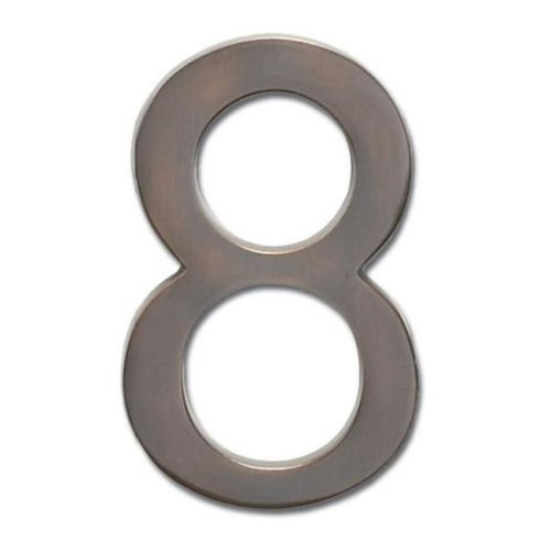 Solid Cast Brass 5 in. Dark Aged Copper Floating House Number 8