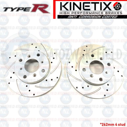 FOR HONDA INTEGRA TYPE R DC2 FRONT DRILLED & GROOVED BRAKE DISCS 262mm (4 STUD)