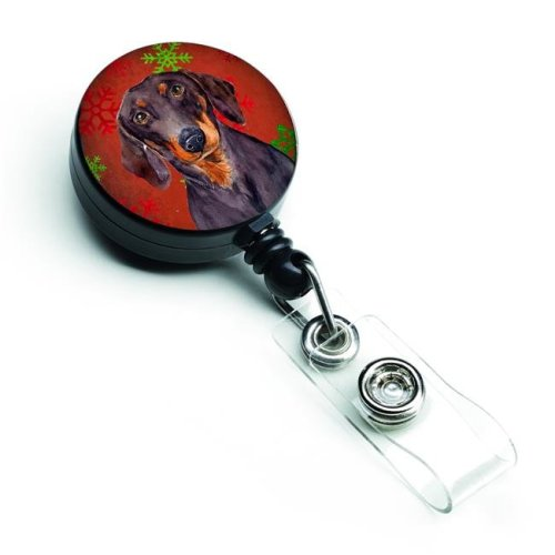 Dachshund Red & Green Snowflakes Holiday Christmas Retractable Badge Reel