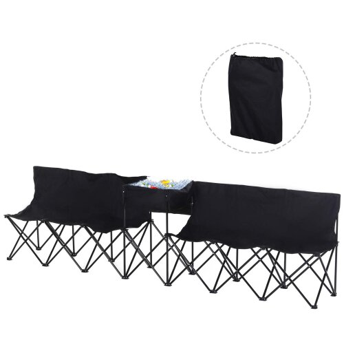 Outsunny 6 Seat Camping Bench Folding Portable Outdoor with Cooler Bag Black