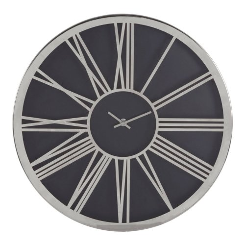 Baillie Black Face Round Wall Clock, Chrome