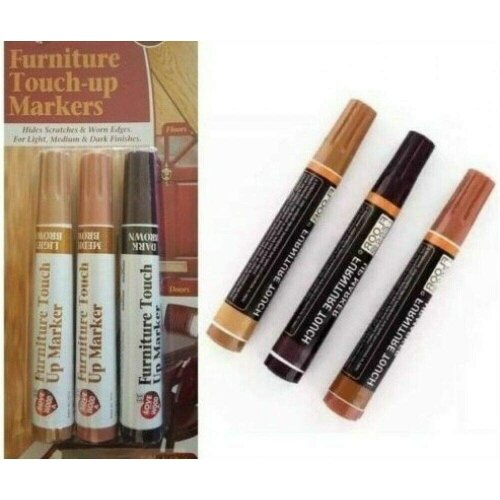 Furniture Touch Up Markers 3 Brown Wood Scratch Repair Restore Pens Paint Floor