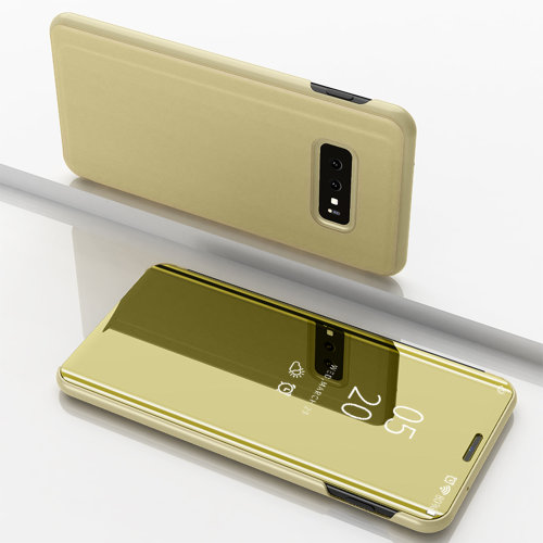 (Samsung Galaxy Note 8, Gold) Luxury Flip Leather Stand Smart Case Clear View Mirror Multi Function Kickstand Shockproof Cover Samsung Galaxy S10 Plus S10e S9 S8 S7 edge Note 8 9