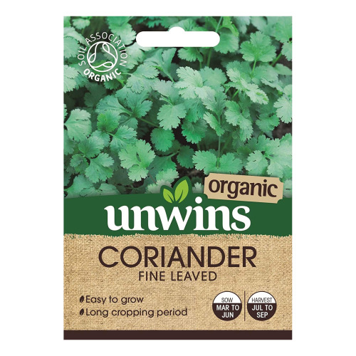 Unwins Grow Your Own Organic Fine Leaved Coriander Herb Seeds