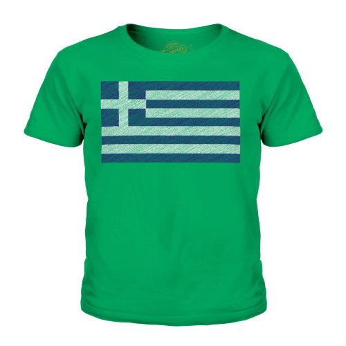 (Irish Green, 7-8 Years) Candymix - Greece Scribble Flag - Unisex Kid's T-Shirt
