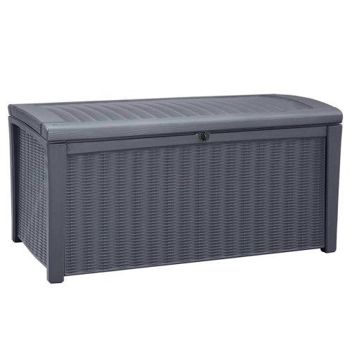 Keter Storage Box Borneo Anthracite Outdoor Garden Utility Chest Cushion Shed