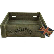 Natural Brown Covent Garden Preserves Double Sided Large Vintage Wooden Storage Display Apple Crate Box