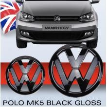MODIFIX  VW POLO MK5 6R GLOSS BLACK FRONT & REAR VW BADGE EMBLEM LOGO SET POLO R GTI TDI GTD