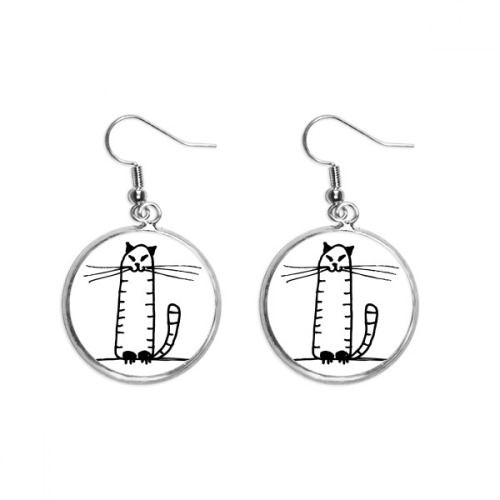 Cat Stripe Sit Black Line Ear Dangle Silver Drop Earring Jewelry Woman