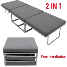 Folding Sofa Lounge Gray Sofa Bed with anti-slip foot pads Office Living Room UK