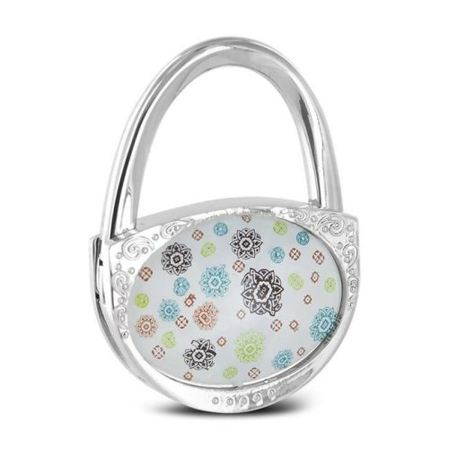 Pursfection PFHH - CHRPIN Design Folding Handbag Purse Hook Hanger, Silver - Pinwheel