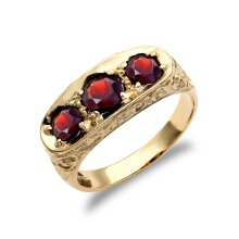 Jewelco London Men's Solid 9ct Yellow Gold Round Brilliant Garnet 3 Stone Trilogy Carved Gypsy Ring