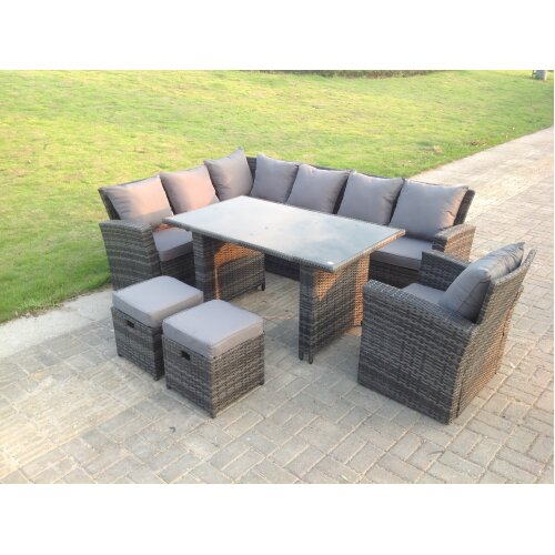 9 Seater High Back Rattan Corner Sofa Dining  Table With Stools Grey