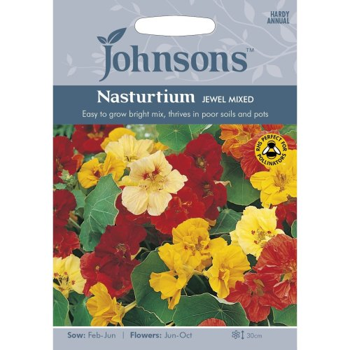 Johnsons Seeds - Pictorial Pack - Flower - Nasturtium Jewel Mixed - 35 Seeds