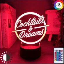 Cocktails & Dreams Led Night Light Sign Bar Decoration Laser