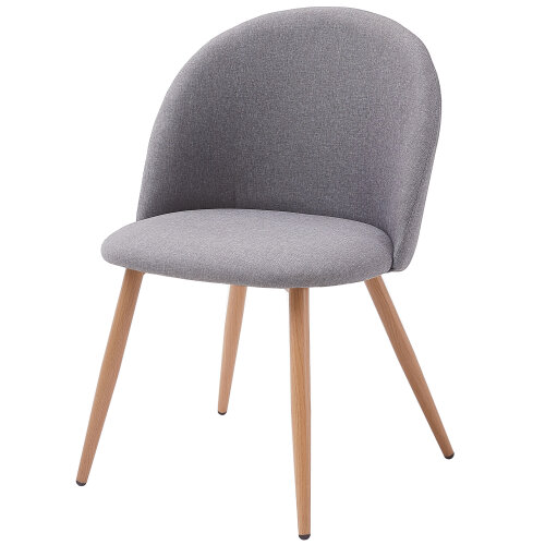 (Grey) Set of 2 Dining Corner Chairs in Fabric