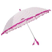 Trespass Clarissa, Apricot Polkadot Print, ONE SIZE, Umbrella with Lace Trim & Whistle for Kids / Girls, One Size, Multicolour