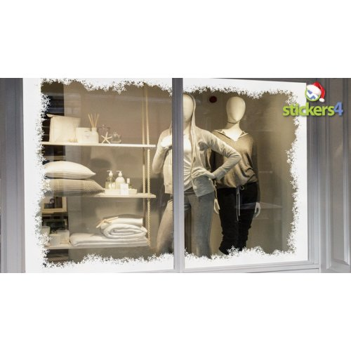 Christmas Winter Fluffy Snow and Frost Window Border - Seasonal Window Cling Display
