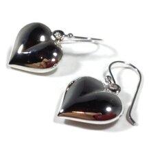 Puffed heart drop earrings, solid Sterling silver.