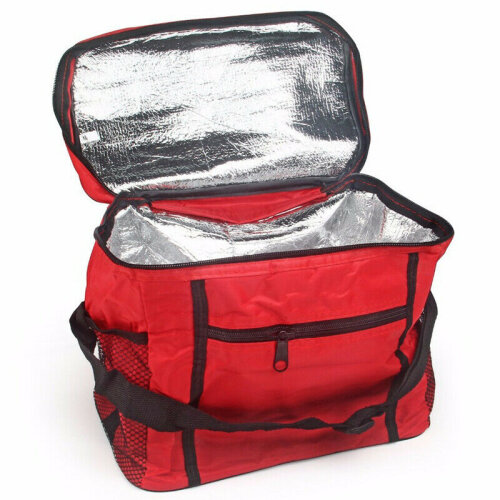 (Red) Large Portable Cool Bag Insulated Thermal Cooler Boxes Food Drink Lunch Picnic