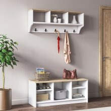 P&W Wooden Coat Rack With Shoe Storage For Hallway Shoes Cabinet