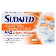 Sudafed Congestion & Headache Relief Max Strength Capsules 16 Capsules (6 x 16ppk)