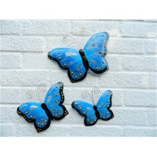 Butterfly Wall Art Ornament Metal Butterflies Wall Hanging Blue Set of 3