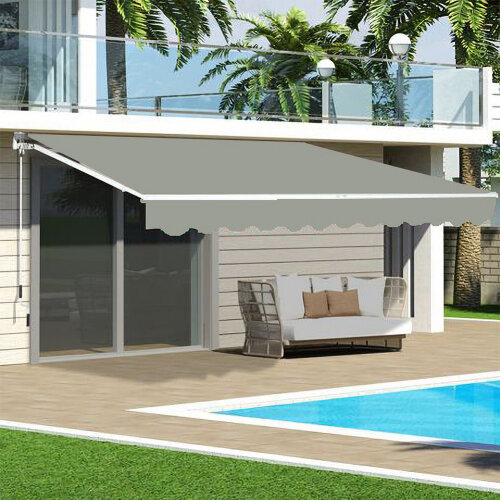 UV Sun Garden Shade Retractable Patio Awning Manual Shelter Outdoor Canopy Grey-L2.5*W2M