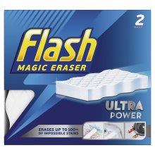Flash Ultra Power Magic Eraser, Removes Impossible Stains Like Crayon on Walls, Tough Grease on Hobs or Grime on Wheel Hubs, 2X