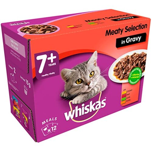 Whiskas 7+ Cat Pouches Meaty Selection in Gravy 12 x 100 g