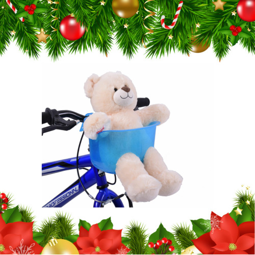 Xmas Gift Stocking Filler Kids Blue Teddy Dolly Bike Basket Seat