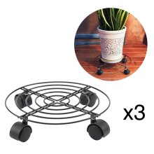 3 Pcs Plant Pot Round Wheels Mover Trolley Caddy Garden Plate Stand
