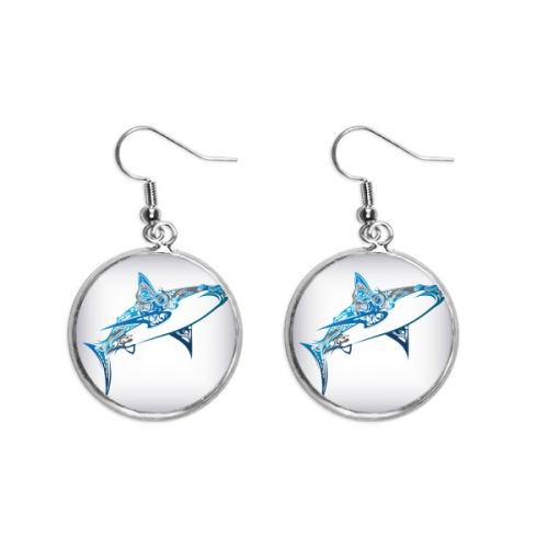 Blue Ocean Shark Biology Fish Ear Dangle Silver Drop Earring Jewelry Woman