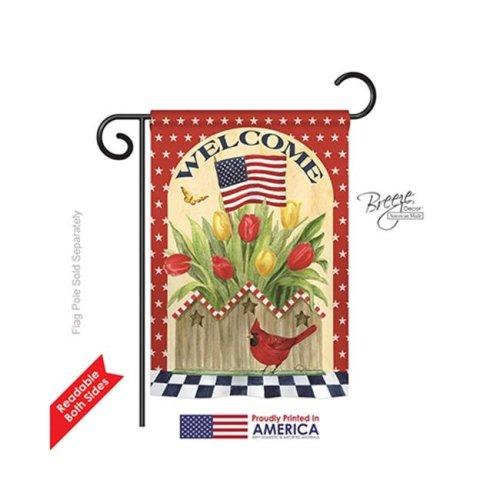Breeze Decor 61062 Patriotic Patriotic Flowers 2-Sided Impression Garden Flag - 13 x 18.5 in.
