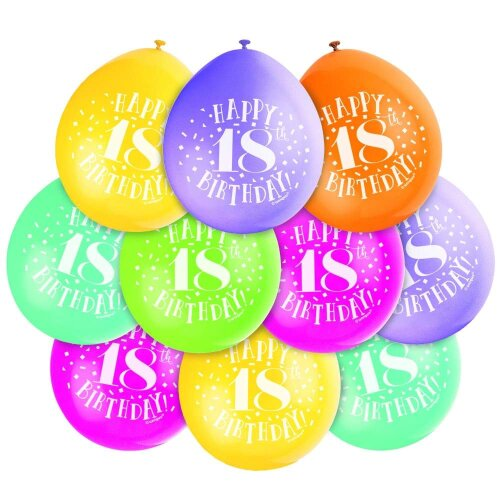 10 HAPPY 18th BIRTHDAY AIR FILL BALLOONS (Assorted Colours)