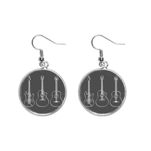 Guitar Music Instruments combination Guitar Ear Dangle Silver Drop Earring Jewelry Woman