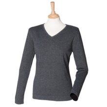 Grey Marl  Womens 12 Gauge V-neck Jumper Henbury Size 2XL