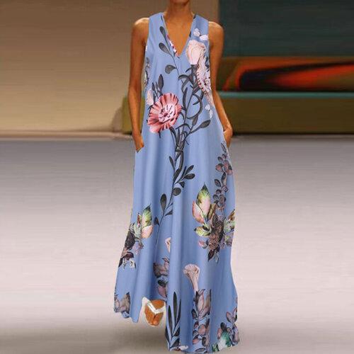 (Blue, XXXL) *Tight Inventory* Women V-Neck Boho Dress Ladies Summer Floral Beach Party Long Sundress Size 8-22