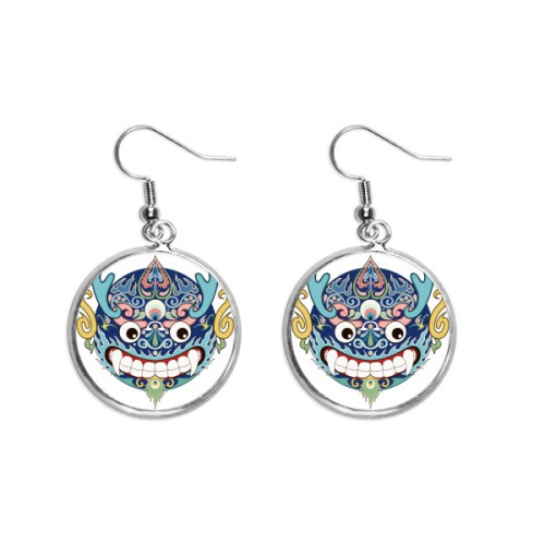 China Chinese Dragon Head Traditional Pattern Ear Dangle Silver Drop Earring Jewelry Woman