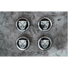 Set of 4 Black Jaguar alloy wheel caps 59mm
