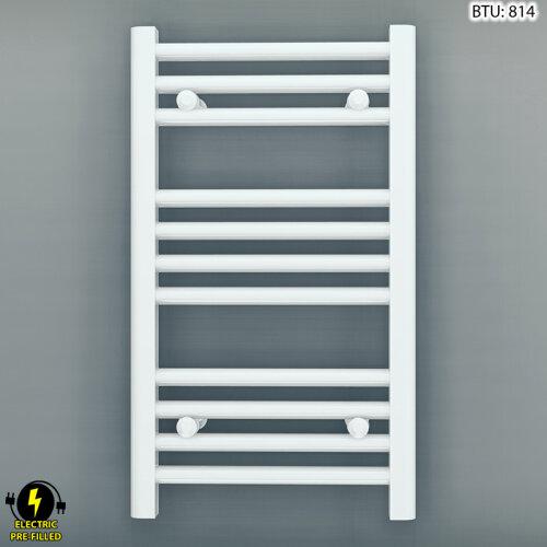 (350 x 600 mm (BTU: 814)) 350mm Wide White Electric Bathroom Towel Radiator