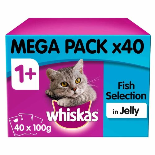Whiskas 1+ Cat Pouches Fish Selection in Jelly Adult Cat Food 40x100g MegaPack